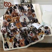 Beddingoutlet 3D Köpek Battaniyeleri Yatak Pet Husky Bulldog Sherpa Battaniye Hayvan Kahverengi Koce Çocuk Yatak Kürklü Battaniye 150x200 cm 201128