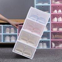 Утолщенные четкие пластиковые коробка для обуви пылезащитный ботинок для хранения ботинок Flip прозрачные коробки для обуви конфеты цвет штабелируемая обувь организатор коробки HH9-3690