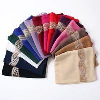 زائد حجم طويل لينة التفاف وشاح شال الأوشحة الترتر فام bufandas الحجاب الثقيلة الشيفون وشاح سولدر اللون شيني وشاح