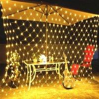 Entrega rápida 210 Party Decor LED Fada Luz Net Natal casamento malha cortina da corda Branco Quente LED Cordas