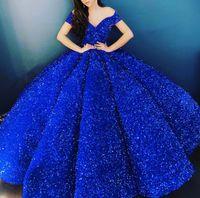 Borgonha lantejoulas vestidos de baile 2021 vestidos de noite Árabe Dubai formal ocasião vestido vestido de bola fora do ombro grânulos azul sexy sem costas