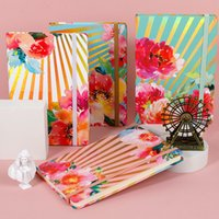 جديد A5 المفكرة مع إغلاق مطاطا من جدول الأعمال مجلات النطاقات Diqurials Diares كتاب مع الأزهار المطبوعة غلاف