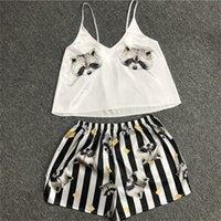 SITIN STINY Camisole Shorts Pyjamas Two-Pièce Simulation Femme Simulation Soie Col V-Col V-Col V