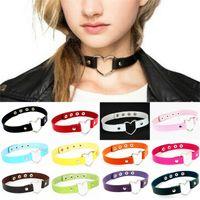 DHL Fashion Choker Женщины Мужчины Cool Punk Goth Rivet Сердце Форма Кожа Ожерелье Ювелирные Изделия Аксессуары 18 Цветов
