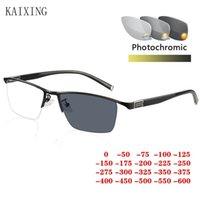 نظارات شمسية Kaixing عالية الجودة الرجال pochromic قصر النظر نظارات العلامة التجارية القيادة الحرباء قرب نظارات للجنسين الإطار البصري
