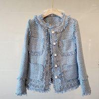 새로운 도착 가을 고품질 코트 여성의 장착 블루 트위드 일치 긴 소매 술 포켓 비드 자켓 탑 outwear1