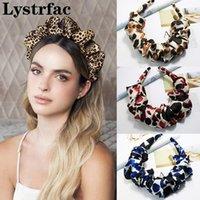 Accesorios para el cabello Lystrfac Fashion Print Leopard Scrunchy Headband para las mujeres Girls Trendy Pleated Hairband femenino Purios femeninos