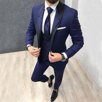 Personalizado marinho azul magro encaixar traje de casamento traje para homens ternos do noivo smoking 3 peças Groomsmen festa ternos casamento smoking para man1