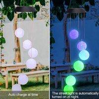 Discount الشمسية الذكية ضوء التحكم موجة الكرة الرياح الرياح نمط الممر الديكور قلادة مصباح الخرز الأسود لوحة الشمسية أضواء ملونة
