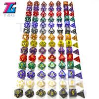 7PC / LOT DICE SET Высококачественные многосторонние кубики с мраморным эффектом D4D6 D8 D10 D10 D12D20 Dungeon и Dragons DD RPG Пользовательские кости