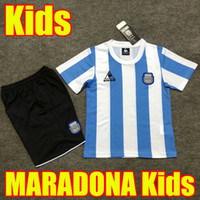 Kids Retro 1986 Argentina Diego Maradona Soccer Jerseys 2020 2021 Conmemorate Camiseta Boca Juniors 20 21 Youth Boys Camisetas de fútbol Soccer Jerseys