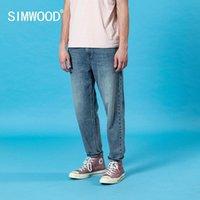 Simwood Summer Nouveau Laser Lave-linge Lâche Jeans coniques Men Classique Ankle-Longueur Pantalon Denim Casual Pantalon Plus Taille Coton 201111