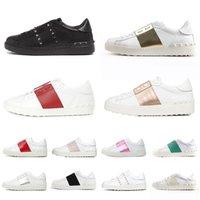 Valentino   Lüks Tasarımcılar Sneakers Erkek Kadın Elbise Ayakkabı Tüm Siyahlar Beyaz Pembe Yeşil Orijinal Moda Spike Tasarımcı Spor Eğitmenleri Boyutu 35-46