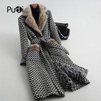 Pudi женщин настоящая норка меховой воротник пальто куртка траншею женской овечьей овечника меховой меховой лайбры длинные Parka A59051 201212