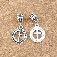 100pcs antico argento aperto fiore cerchio croce incrocio grande foro perlina vestire gioielli braccialetto europeo 16x32