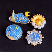 Nouveau vintage émail Broche Peinture Huile Drop Pearl Tournesol Sun and Moon Broche broche Broches de strass Broches Corsage Badge Accessoires