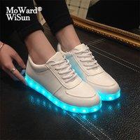 Tamaño 27-42 Zapatos LED para niños para niños Cargador USB Brillantes Niños Sneakers Luminosos Casual Light Shoes con LED Sole Mujeres LJ201027