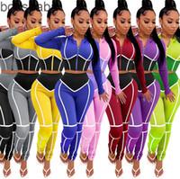 Женщины Scestsuits Йога Одежда пэчворк плотно 2 две части набор на молнии с капюшоном толпы вершины леггинсы брюки пробежки плюс размер одежды 825