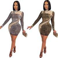 여성 O 넥 다이아몬드 드레스 긴 소매 Bodycon 미니 나이트 클럽 드레스 섹시한 메쉬 패치 워크 파티 클럽 우아한 Vestidos