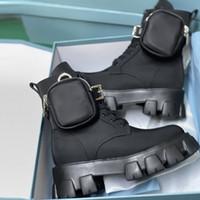 المرأة القماش القتالية الأحذية monolith الأحذية الجلدية رواية النايلون الفراء الكاحل مارتن التمهيد مع الحقيبة معركة المطاط الوحيد منصة الأحذية حجم كبير