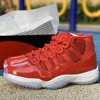 Jumpman 11 Gagner comme Gym Rouge Noir Blanc Hommes Véritable Chaussures En Cuir Véritable Big Kids Boys Basketball Sports