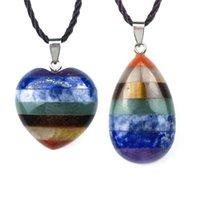 Chakela Anhänger Natürliche Kristall Energy Stein Pfirsich Herzförmige Wassertropfen Spleißen Halskette 7chakra Frauen SchmuckscheibeF Ashion 13 5QP M2