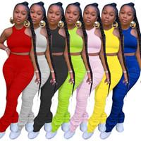 Женщины двухсексуалисты наборных нарядов сплошной цвет плотный жилет плиссированные длинные брюки набор дизайнерский повседневный костюм жилет плиссированные трубы спортивные штаны S-3XL