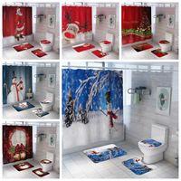 Weihnachten bedruckt Wasserdichte Badezimmer Duschvorhang Teppichboden Matte Kombination Badezimmer WC WC WC-Sitz Duschvorhang Set WQ67