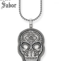 Collares colgantes enlace collar de cadena negro máscara de cráneo pavimento regalo para hombres mujeres, corazón femenino 925 joyería de moda de plata esterlina1
