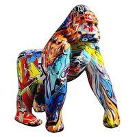 Северный творческий красочный граффити горилла скульптура животных статуя творческие ремесла орнамент ретро фигурка дома украшения аксессуары