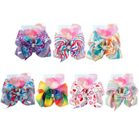 8 Inch Bows Girls Sequins Striped Hair clips Baby Stars Love...