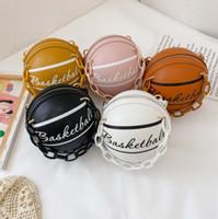 패션 키즈 편지 인쇄 가방 소녀 금속 체인 한 - 어깨 농구 가방 어린이 원형 메신저 가방 여성 미니 지갑 A5436