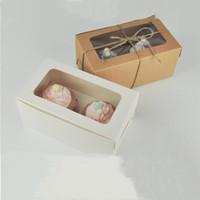 Cartolina Kraft Carta Cupcake Box 2 tazza di cake detentori di torta muffin scatole di torta dessert dessert portatile scatola del pacchetto vassoio regalo con favore ZYC17