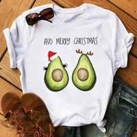 New Cute Avocado Merry Christmas Printed Tshirt Fashion Wome...