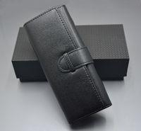 럭셔리 블랙 가죽 펜 케이스 더블 펜 홀더 고품질 편지지 오피스 학교 용품 펜 가방 선물
