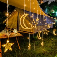 LED Tenda Light Star and Moon Holiday String String Light 3.5M Lampada da decorazione impermeabile per matrimonio, festa, luce natalizia 10pcs T1I3003