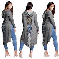 Gotik Bayan Hoodies Bayanlar Kesim Uzun Kollu Uzun Kollu Yırtık Geri Kapüşonlu Hoodie Kadın Ceket Tişörtü Saf Renk Sonbahar Ceket