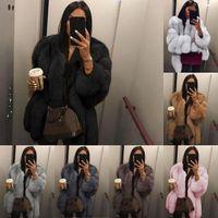 Mujeres Faux Piel Abrigo Invierno Alta Calidad Mujeres Abrigo Abrigo Cálido Plus Tize Plush Furry Fury Chaqueta Abrigo Outerwear XS-5XL En stock
