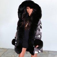 Kadın Aşağı Parkas O kadın Ceket Kış Kamuflaj Peluş Yaka Sıcak Kalın Faux Kürk Artı Boyutu Hood Parka Uzun Kadın Ceket1