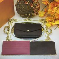 Vintage Pochette Felicie Cinturino a tracolla Borse a tracolla 3 pezzi Set Donne Borse Bankbag Crossbody Mini Portafogli Mobile Carta da cellulare Borsa M61276