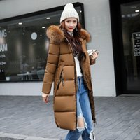 Donne Down Parkas Commercio all'ingrosso- 2021 autunno inverno grande collo di pelliccia con cappuccio sottile giacca lungo cotone-imbottito caldo cappotto donna cappotto femmina outwear par