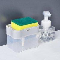 2-in-1 sabonete Líquido Sabão Bomba esponja Caddy New Creative Kitchen manual de Imprensa líquido dispensador com 2xWashing Sponge