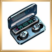 뜨거운 F9-10 TWS 무선 블루투스 5.0 이어폰 보이지 않는 이어폰 스테레오 시계 LED 노이즈 취소 3 LED 전원 디스플레이가있는 게임 헤드셋