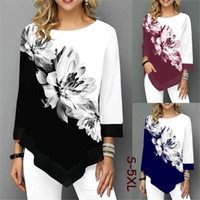 S-5XL T Shirt Donna Plus Size Tre quarti Signore Tee Shirts Stampa floreale Stampa floreale Scopi Casual Tops femminile Autunno Autunno