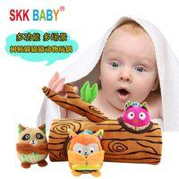 Ağaç Stump Serisi Çıngırak Bebek Bulmaca Geliştirme Oyuncak Bebek Peluş Çıngırak Seti