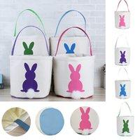 Ostern Kaninchen Korb Osterhaken Taschen Kaninchen Gedruckt Leinwand Tragetasche Ei Süßigkeiten Körbe 4 Farben DHD3332