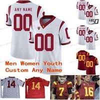 Costurado personalizado 33 Marcus allen 42 ronnie lott 43 troy polamalu usc trojans faculdade homens mulheres juventude jersey