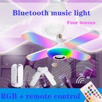 블루투스 음악 빛 RGB LED 램프 4 잎 모양의 50W E27 LED 전구 원격 제어 접이식 전구 스마트 스피커 램프