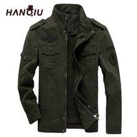HANQIU Marka M-6XL Bombacı Ceket Erkekler Askeri Giyim 2020 İlkbahar Sonbahar Erkek Ceket Katı Gevşek Ordu Askeri Ceket Y1112