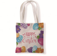 Happy Easter Canvas Bag Reusable Grocery Canvas Tote Bag for...